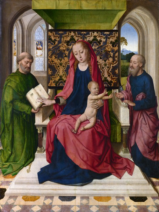 Workshop of Dirk Bouts - The Virgin and Child with Saint Peter and Saint Paul. Part 6 National Gallery UK