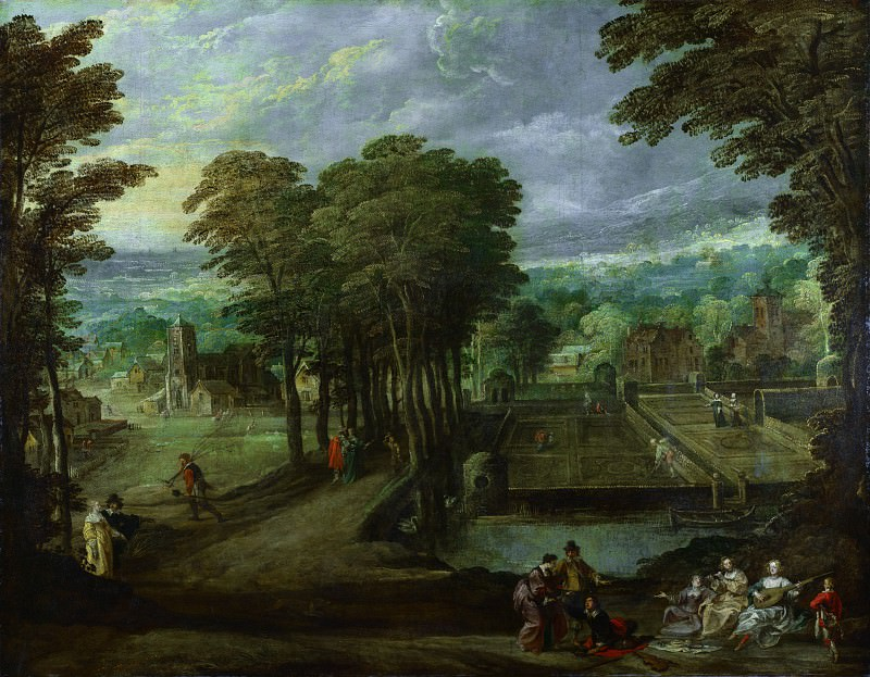 Style of Joos de Momper the Younger - A Music Party before a Village. Part 6 National Gallery UK