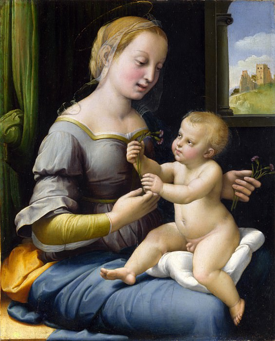 Raphael - The Madonna of the Pinks (La Madonna dei Garofani). Part 6 National Gallery UK
