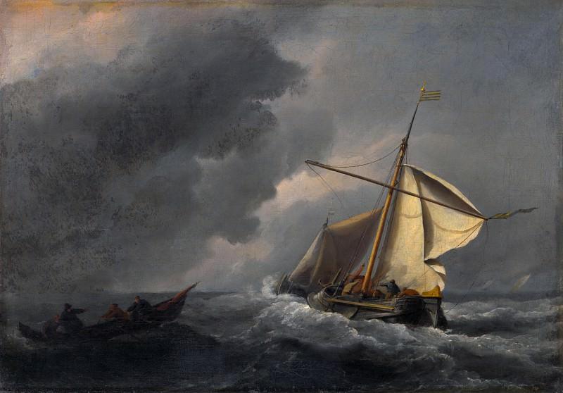 Willem van de Velde - A Dutch Vessel in a Strong Breeze. Part 6 National Gallery UK