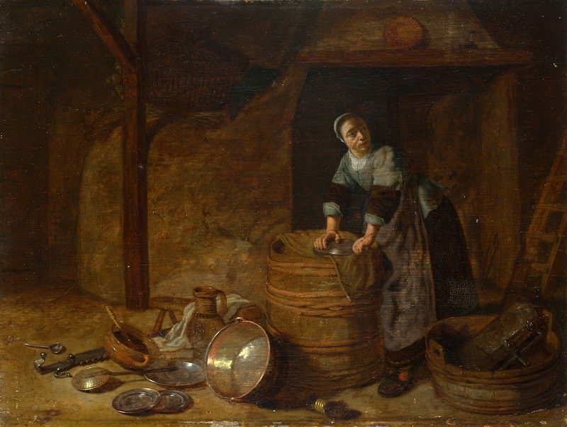 Pieter van den Bosch - A Woman scouring a Pot. Part 6 National Gallery UK