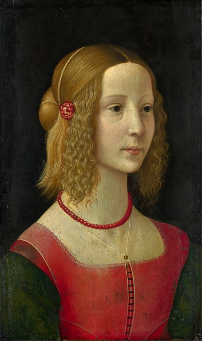 Workshop of Domenico Ghirlandaio - Portrait of a Girl. Part 6 National Gallery UK