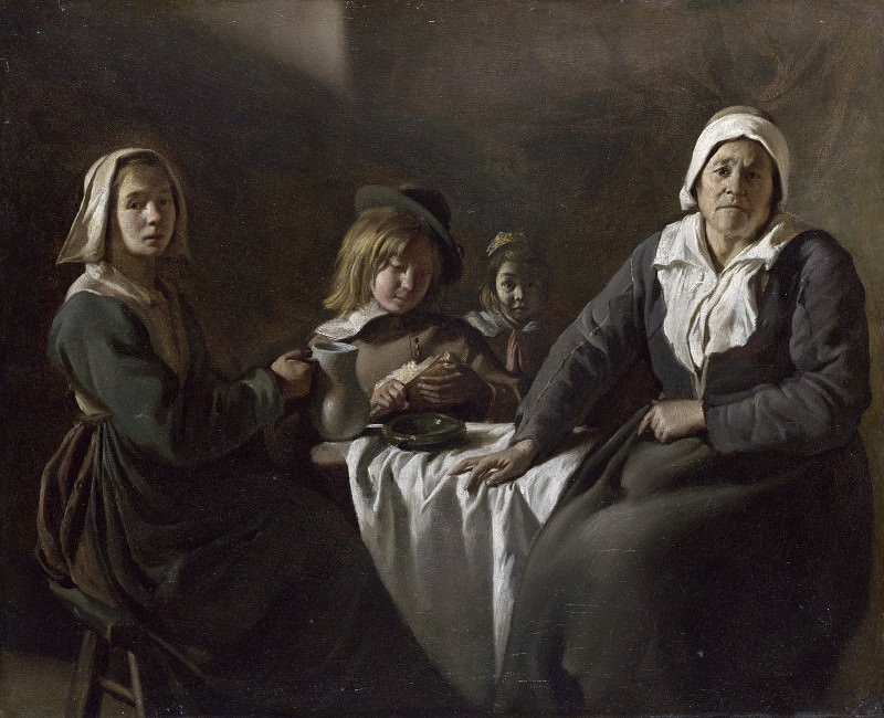The Le Nain Brothers - Four Figures at a Table. Part 6 National Gallery UK