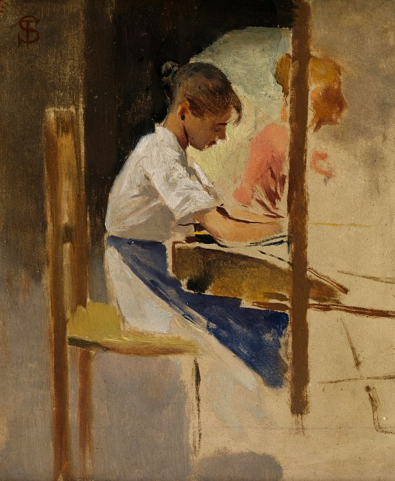Telemaco Signorini - Sketch for Straw Weavers at Settignano. Part 6 National Gallery UK