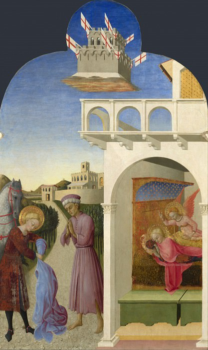 Sassetta - Saint Francis and the Poor Knight, and Franciss Vision. Part 6 National Gallery UK