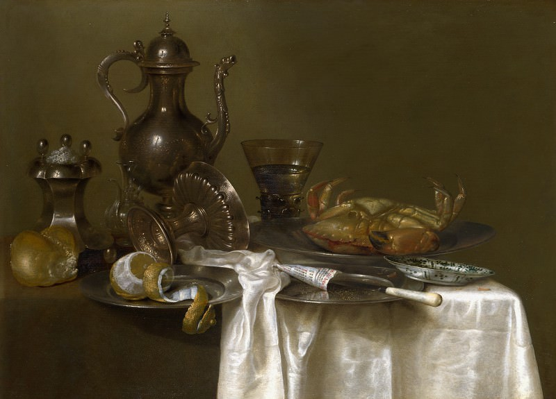 Willem Claesz. Heda - Still Life - Pewter and Silver Vessels and a Crab. Part 6 National Gallery UK