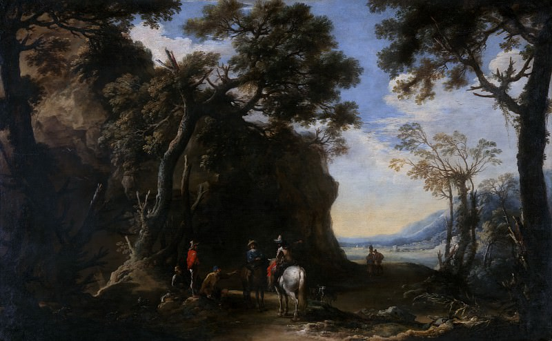 Salvator Rosa - Landscape with Travellers asking the Way. Part 6 National Gallery UK