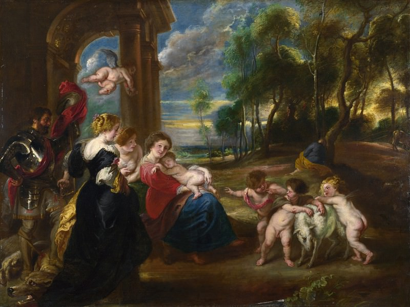 the Studio of Peter Paul Rubens - The Holy Family with Saints in a Landscape. Part 6 National Gallery UK