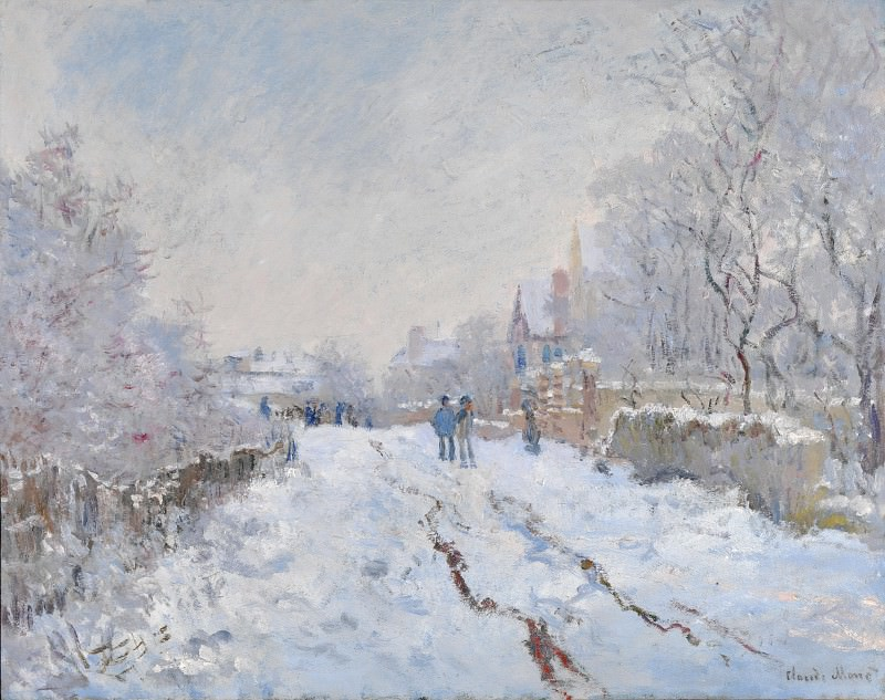 Claude-Oscar Monet - Snow Scene at Argenteuil. Part 2 National Gallery UK