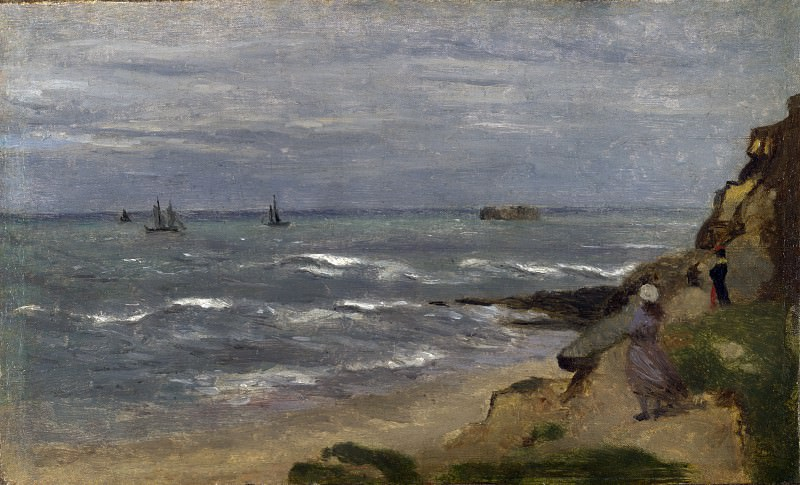 Follower of Jean Baptiste Camille Corot - Seascape with Figures on Cliffs. Part 2 National Gallery UK