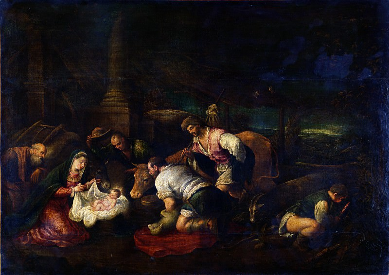 Follower of Jacopo Bassano - The Adoration of the Shepherds. Part 2 National Gallery UK