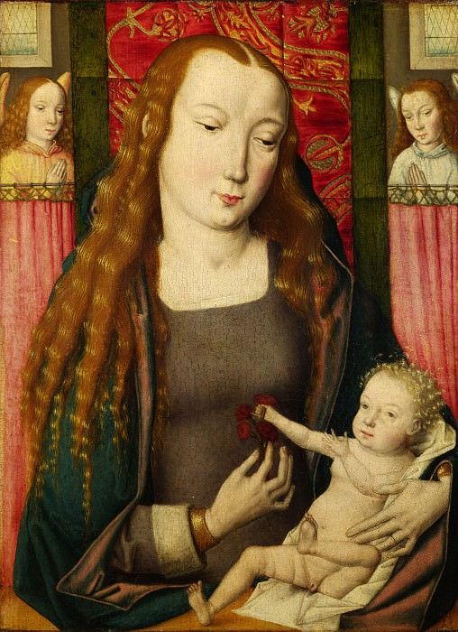 Follower of the Master of the Saint Ursula Legend (Bruges) - The Virgin and Child with Two Angels. Part 2 National Gallery UK