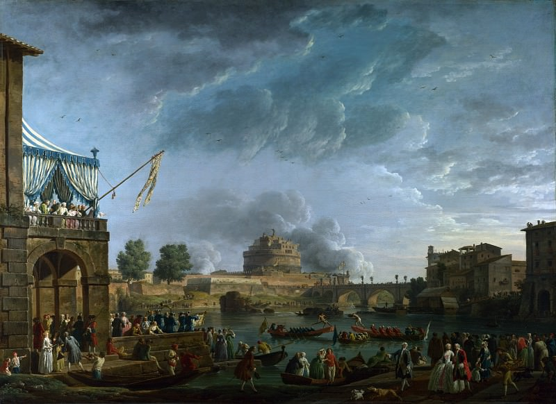 Claude-Joseph Vernet - A Sporting Contest on the Tiber at Rome. Part 2 National Gallery UK