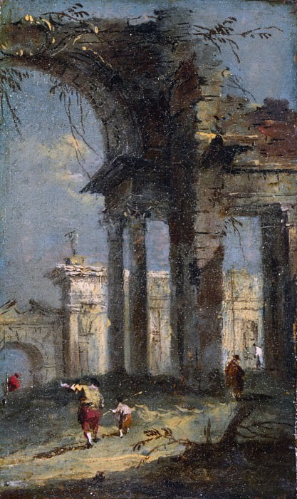 Francesco Guardi - Caprice View with Ruins. Part 2 National Gallery UK