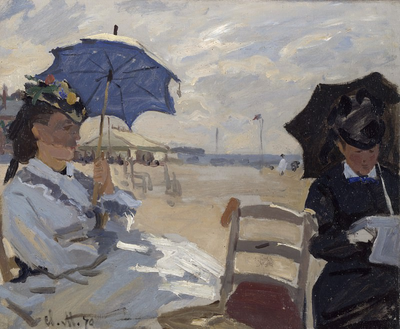 Claude-Oscar Monet - The Beach at Trouville. Part 2 National Gallery UK