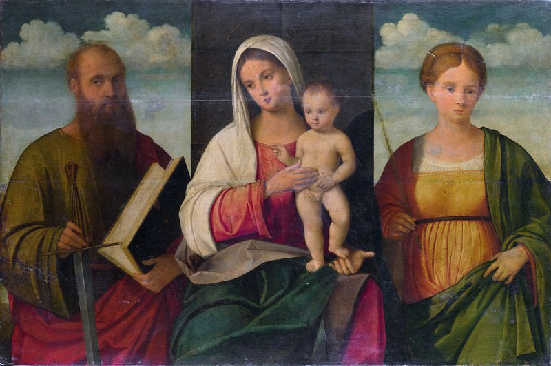 Francesco Bissolo - The Virgin and Child and Saints. Part 2 National Gallery UK