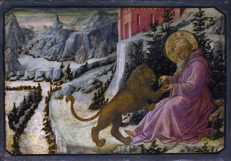 Fra Filippo Lippi and workshop - Saint Jerome and the Lion - Predella Panel. Part 2 National Gallery UK