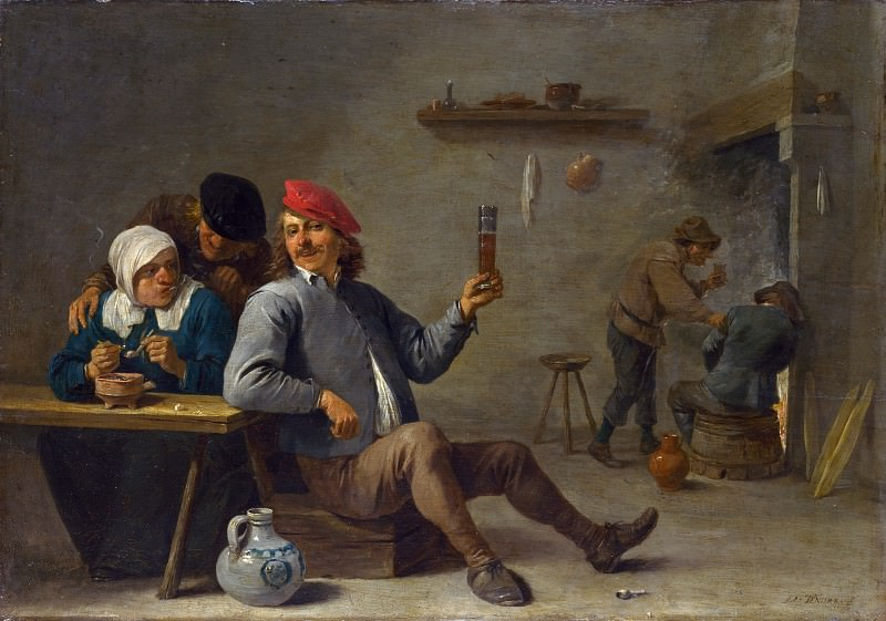David Teniers the Younger - A Man holding a Glass and an Old Woman lighting a Pipe. Part 2 National Gallery UK