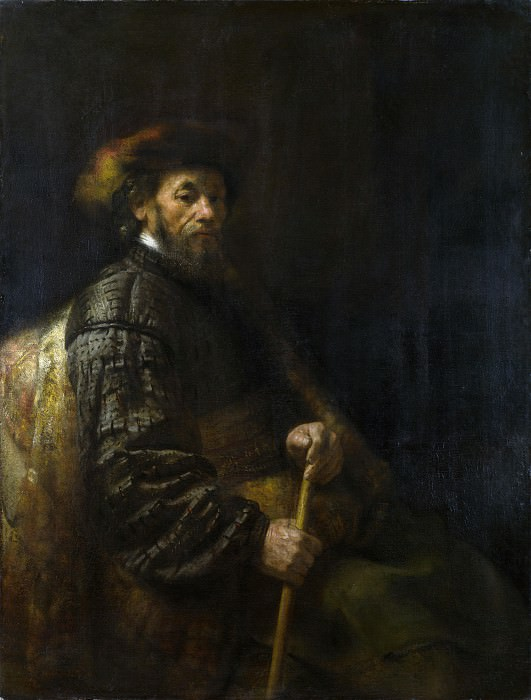 Follower of Rembrandt - A Seated Man with a Stick. Part 2 National Gallery UK