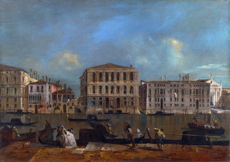 Francesco Guardi - Venice - The Grand Canal with Palazzo Pesaro. Part 2 National Gallery UK