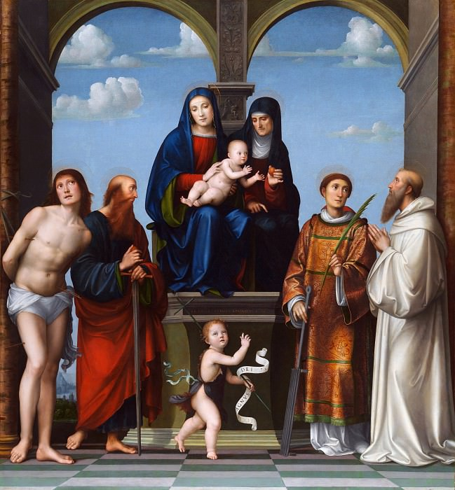 Francesco Francia - The Virgin and Child with Saint Anne and Other Saints. Part 2 National Gallery UK