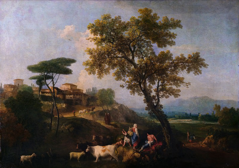 Francesco Zuccarelli - Landscape with Cattle and Figures. Part 2 National Gallery UK