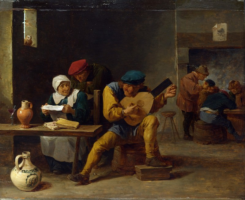 David Teniers the Younger - Peasants making Music in an Inn. Part 2 National Gallery UK