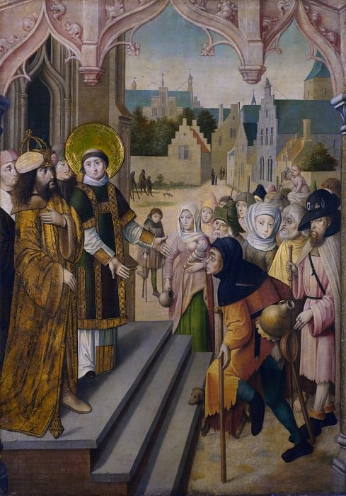 Circle of the Master of the Saint Ursula Legend (Cologne) - Saint Lawrence before the Prefect. Part 2 National Gallery UK