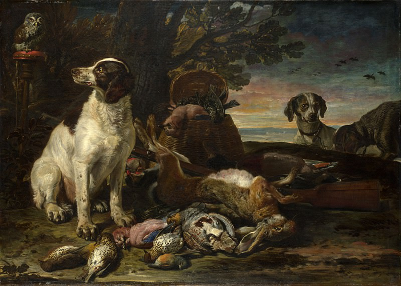 David de Coninck - Dead Birds and Game with Gun Dogs and a Little Owl. Part 2 National Gallery UK