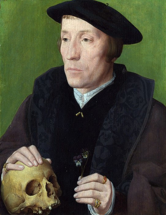 Follower of Jan van Scorel - A Man with a Pansy and a Skull. Part 2 National Gallery UK