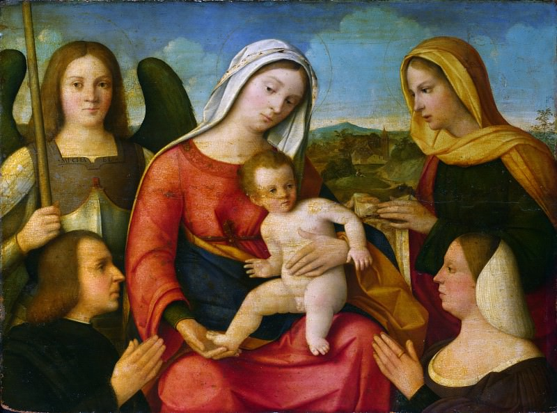 Francesco Bissolo - The Virgin and Child with Saints and Donors. Part 2 National Gallery UK