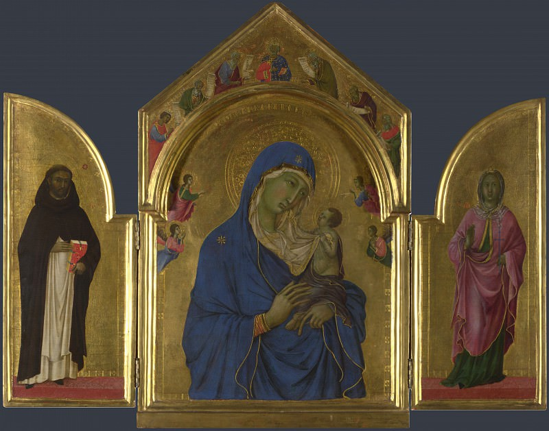Duccio - The Virgin and Child with Saints Dominic and Aurea. Part 2 National Gallery UK