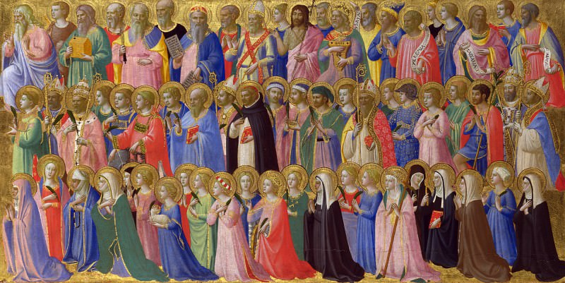 San Domenico Altarpiece - The Forerunners of Christ with Saints and Martyrs. Fra Angelico
