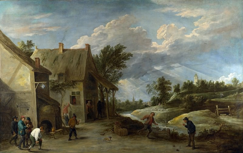 David Teniers the Younger - Peasants playing Bowls outside a Village Inn. Part 2 National Gallery UK