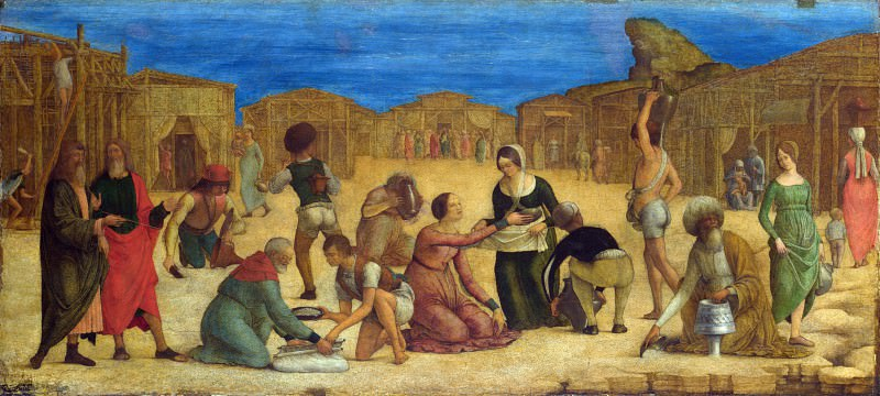 Ercole de Roberti - The Israelites gathering Manna. Part 2 National Gallery UK