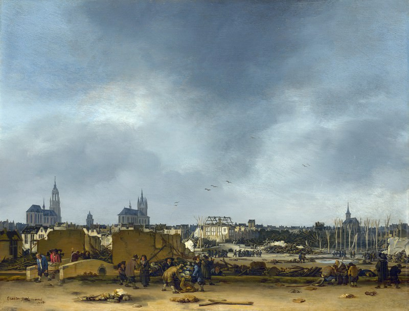 Egbert van der Poel - A View of Delft after the Explosion of 1654. Part 2 National Gallery UK