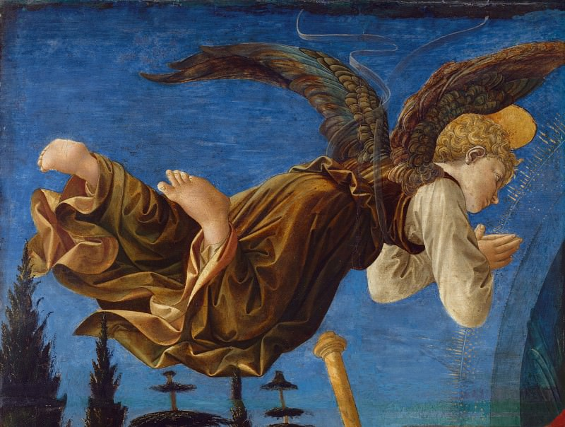Francesco Pesellino and completed by Fra Filippo Lippi and workshop - Angel (Left Hand). Part 2 National Gallery UK