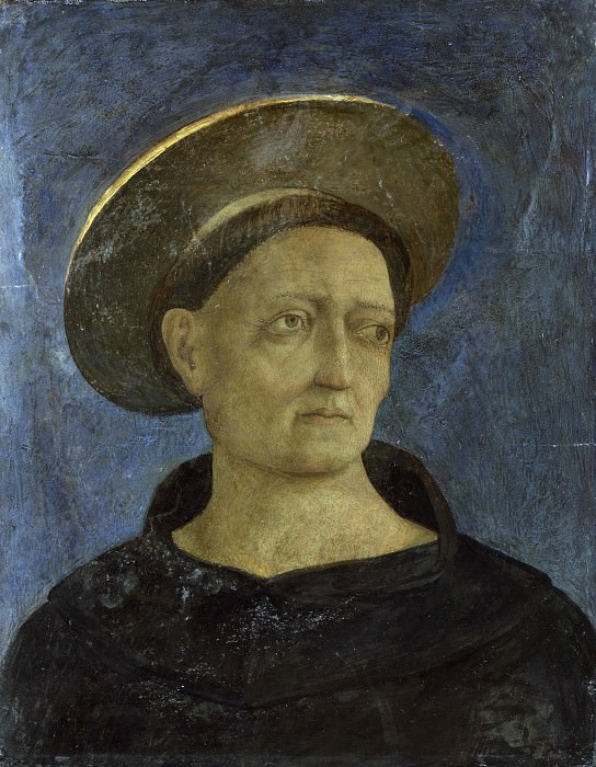 Domenico Veneziano - Head of a Tonsured, Beardless Saint. Part 2 National Gallery UK