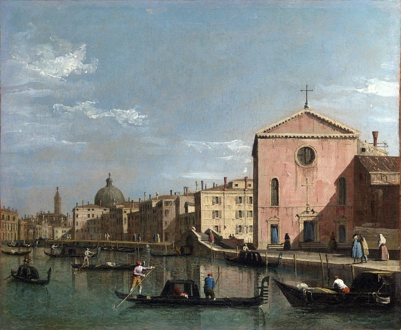 Follower of Canaletto - Venice - The Grand Canal facing Santa Croce. Part 2 National Gallery UK