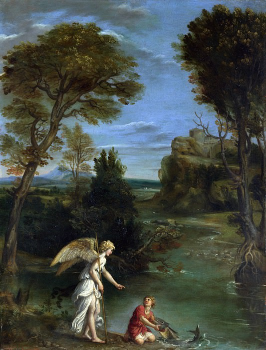 Domenichino - Landscape with Tobias laying hold of the Fish. Part 2 National Gallery UK