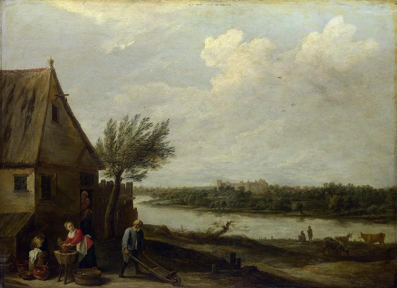 Давид Тенирс II - Деревенский дом у реки с видом на замок. Часть 2 Национальная галерея
