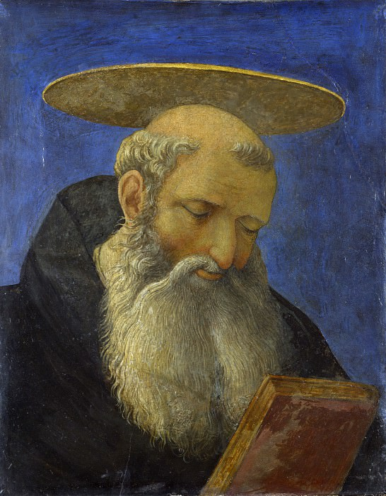 Domenico Veneziano - Head of a Tonsured, Bearded Saint. Part 2 National Gallery UK