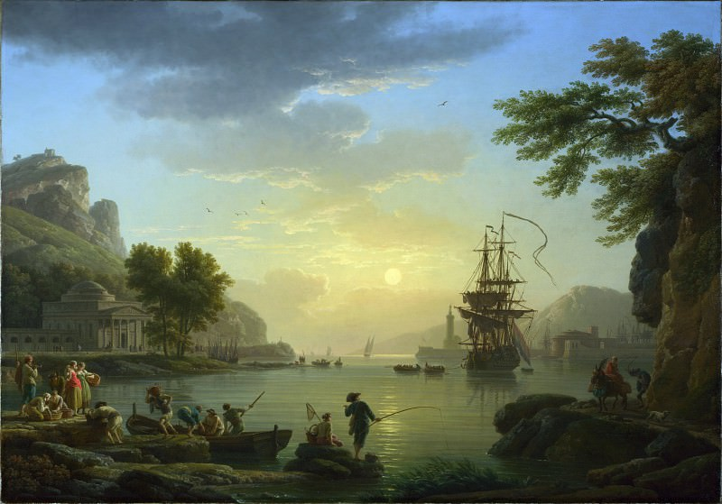 Claude-Joseph Vernet - A Landscape at Sunset. Part 2 National Gallery UK