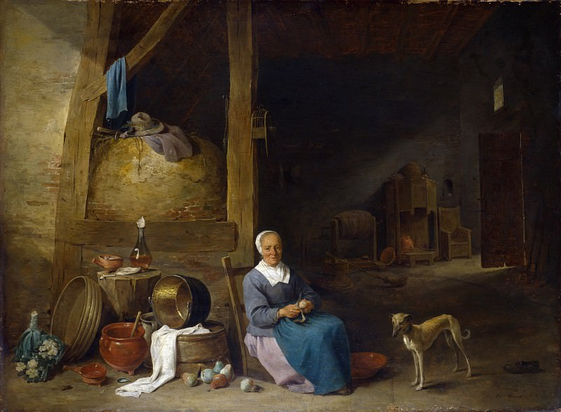 Follower of David Teniers the Younger - An Old Woman peeling Pears. Part 2 National Gallery UK