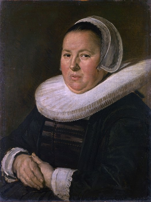Frans Hals - Portrait of a Middle-Aged Woman with Hands Folded. Part 2 National Gallery UK