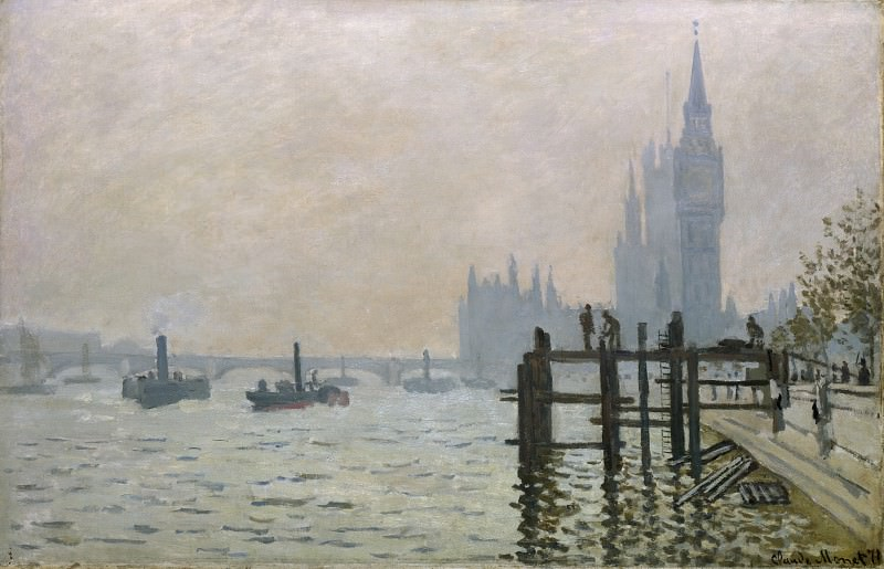 Claude-Oscar Monet - The Thames below Westminster. Part 2 National Gallery UK