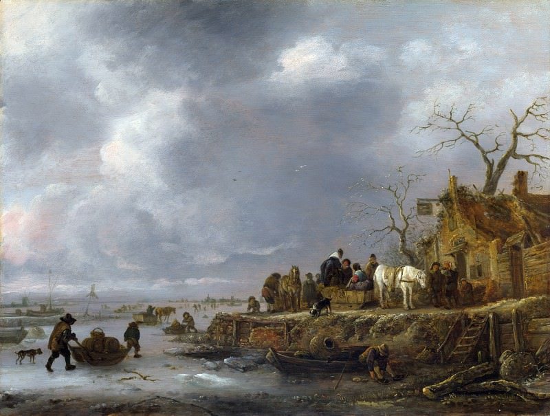 Follower of Isack van Ostade - An Inn by a Frozen River. Part 2 National Gallery UK