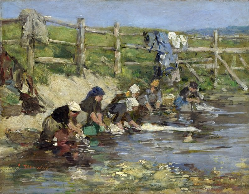 Eugene Boudin - Laundresses by a Stream. Part 2 National Gallery UK