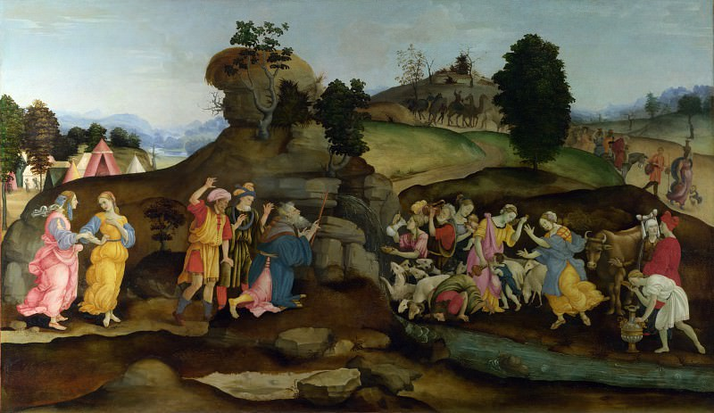 Follower of Filippino Lippi - Moses brings forth Water out of the Rock. Part 2 National Gallery UK