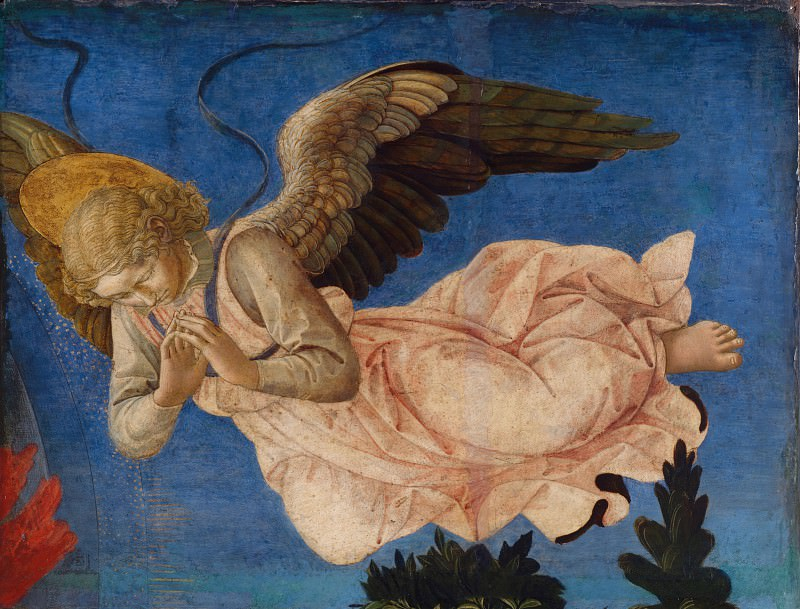 Francesco Pesellino and completed by Fra Filippo Lippi and workshop - Angel (Right Hand). Part 2 National Gallery UK